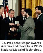 U.S. President Reagan awards Steve Wozniak and Steve Jobs 1985's National Medal of Technology
