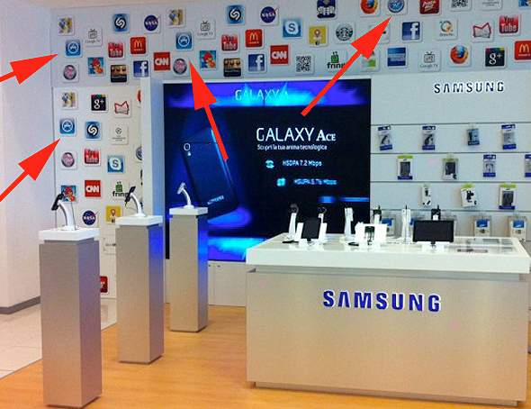 Samsung shop in Italy's Centro Sicilia features Apple icons