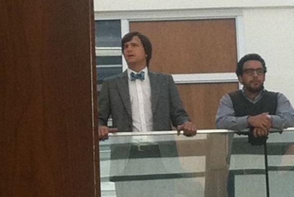"Ashton Kutcher as Steve Jobs on the set of  ""jOBS"" bioflick"