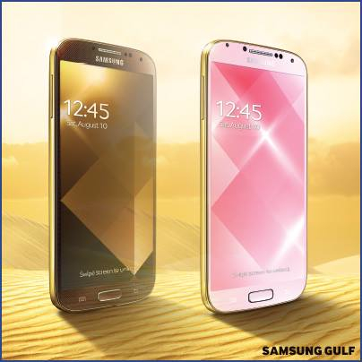 Samsung Galaxy S4 in Gold Brown or Gold Pink