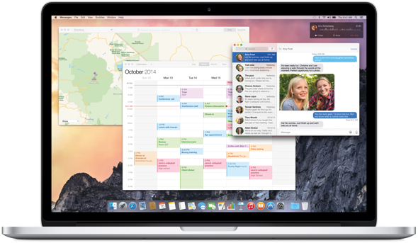 Apple's OS X Yosemite on a MacBook Pro with Retina display