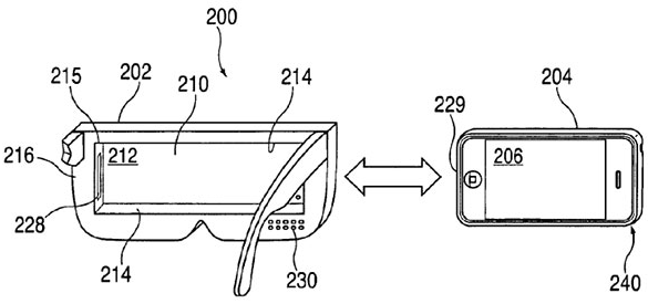 """U.S. patent number 8,957,835: Apple's """"head-mounted display apparatus for retaining a portable electronic device with display"""""""