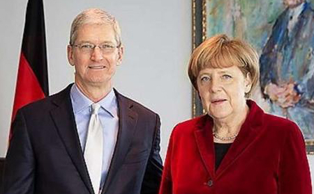Tim Cook meets with German Chancellor Angela Merkel in Germany