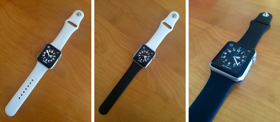 Apple Watch Sport with original White Sport Band pre-order config (left) and with new ($49) Black Sport Band (right)