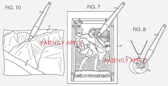 Apple patent application illustration depicting a smart stylus with texture sensing capabilities, 3d image generation, and more