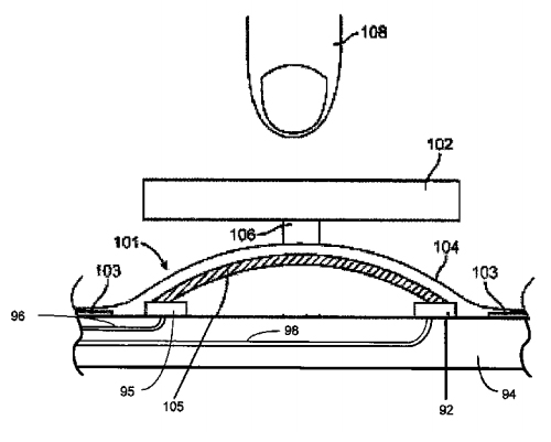 "Apple patent application illustration from the USPTO filing: ""Bulk amorphous alloy pressure sensor"""