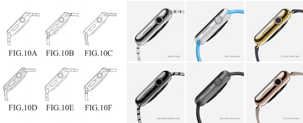 Samsung patent application contains sketches (left) which look just like Apple's promotional images for Apple Watch (right)