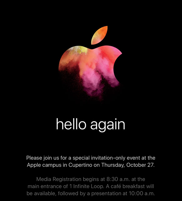 "Apple's invitation for their ""hello again"" special event"