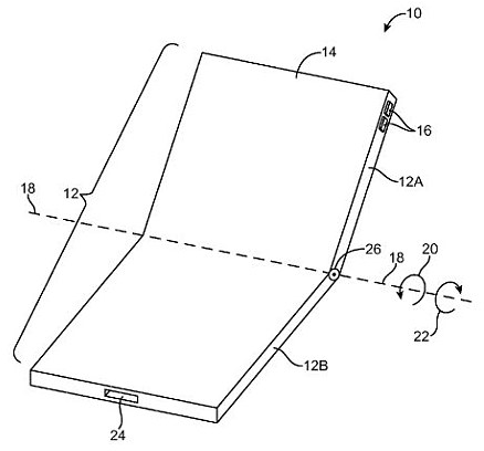 Apple's patent illustration shows a hinge in the middle of the handset's display that would enable it to fold in half