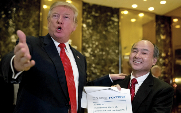 U.S. President Donald Trump and Softbank CEO Masayoshi Son in December 2016