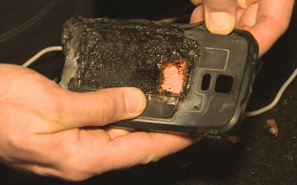 Mario Jakab says the flames coming from his phone were somewhat contained because of the case, which also burned. (photo: CBC)