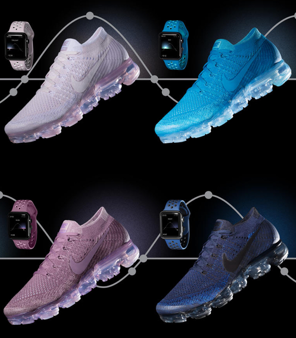 """Four new Nike Sport Bands for Apple Watch Nike+ in colorways inspired by the Nike Air VaporMax Flyknit """"Day to Night"""" collection"""