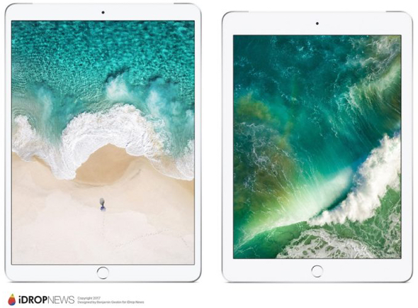 The upcoming 10.5-inch iPad (left) compared to the current 9.7-inch iPad