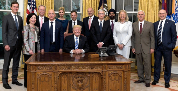 U.S. President Donald Trump, Vice President Mike Pence, Apple CEO Tim Cook, and the rest of the American Technology Council
