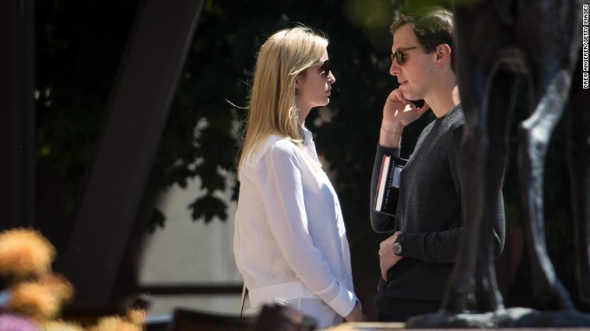 Ivanka Trump, daughter and adviser of US President Donald Trump, and her husband, White House senior adviser Jared Kushner at Allen & Co.'s annual conference in Sun Valley, Idaho