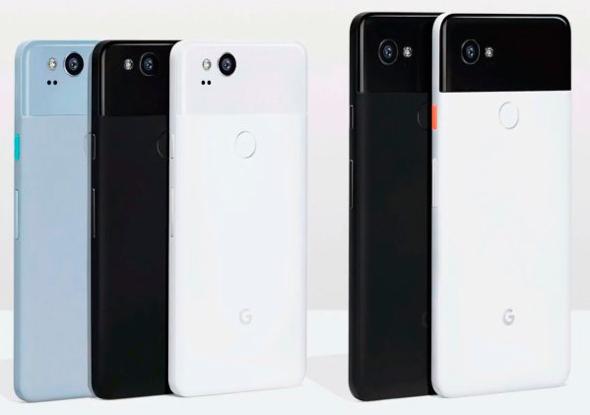 Alphabet Inc.'s HTC-built  Google Pixel 2 (left) and LG-built Google Pixel 2 XL