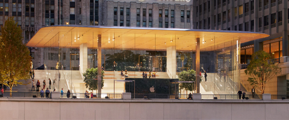 Apple's new retail store in Chicago connects the Chicago River with Pioneer Court and Michigan Avenue.