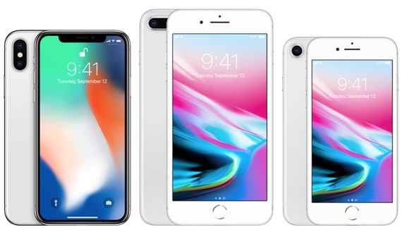 "iPhone X (5.8"" display, left), iPhone 8 Plus (5.5"" display, center), iPhone 8 (4.7"" display, right)"