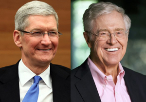 Tim Cook (left) and Charles Koch