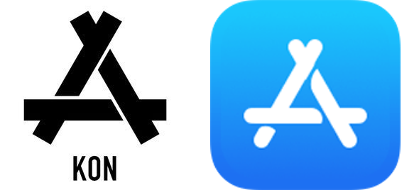 KON logo (left) vs. Apple App Store icon (right)