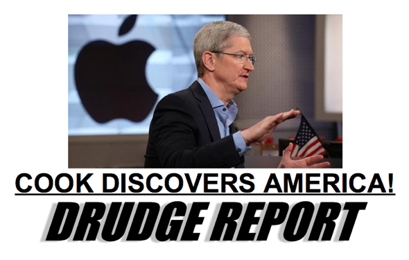 The front page of the DRUDGE REPORT, January 18, 2018 features Apple CEO Tim Cook