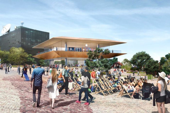 An artist's impression of a planned new Apple concept store at Melbourne's Federation Square. (Photo via Victorian Government)