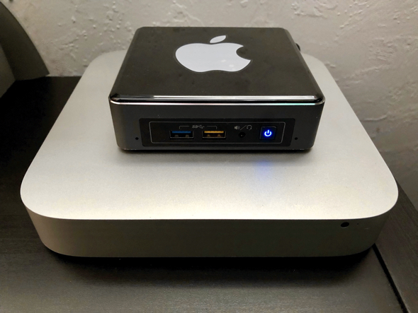 Intel NUC server hackintosh sits atop Jason Snell's old Apple Mac mini