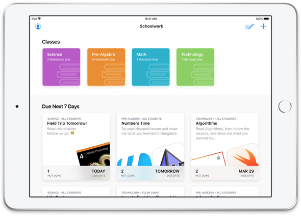Apple's all-new Schoolwork app lets teachers easily assign anything from worksheets to activities in educational apps, follow students' progress, and collaborate with them in real time.