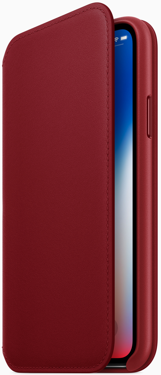 Apple also introduced a new (PRODUCT)RED iPhone X Leather Folio, available beginning tomorrow.