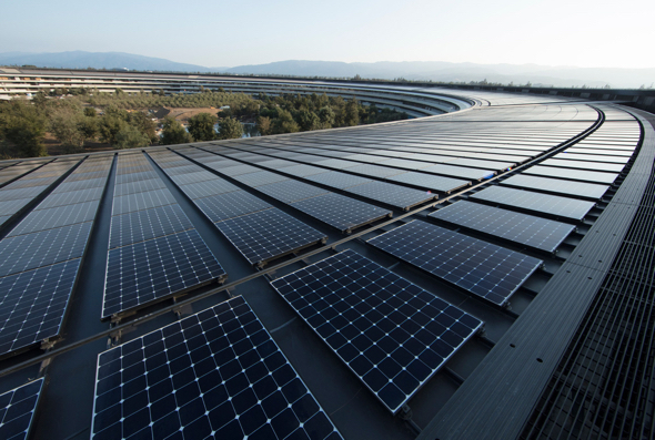 Apple's new headquarters in Cupertino is powered by 100 percent renewable energy, in part from a 17-megawatt onsite rooftop solar installation.