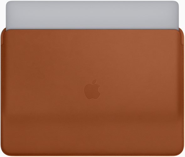 Apple leather sleeve for the 13- and 15-inch MacBook Pro in Saddle Brown (Midnight Blue and Black also available)