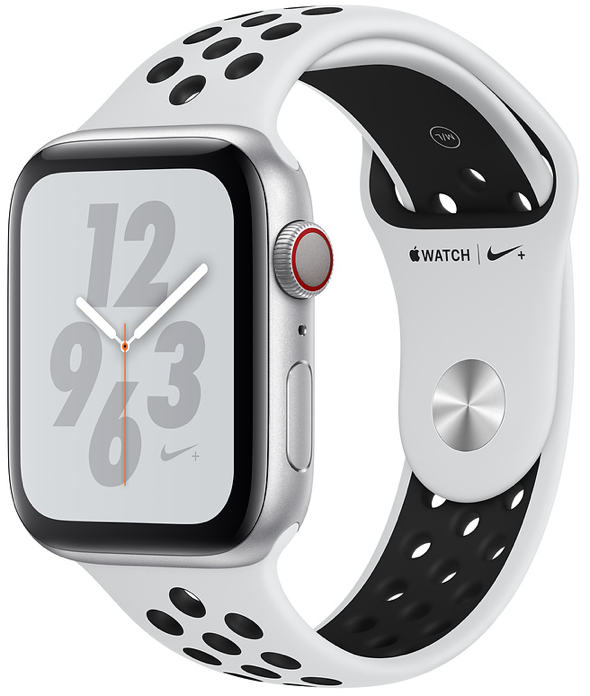 Apple Watch Nike+ Series 4 (GPS + Cellular) in Silver Aluminum Case with Pure Platinum/Black Nike Sport Band