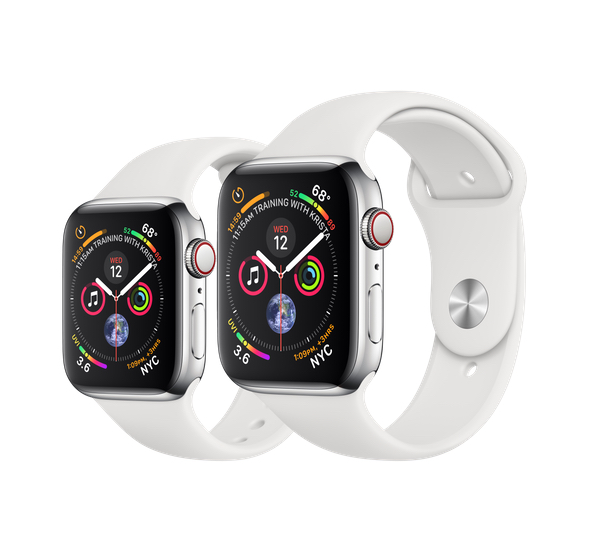 Apple Watch Series 4 (GPS + Cellular) in Stainless Steel Case with White Sport Band (40mm $699, 44mm $749)