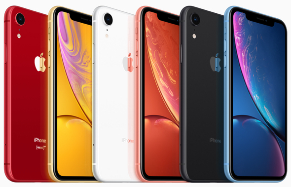 iPhone Xr comes in six new finishes: white, black, blue, yellow, coral and (PRODUCT)RED.