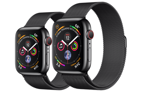 Apple Watch Series 4 in a Space Black Stainless Steel Case with Space Black Milanese Loop (40mm and 44mm)