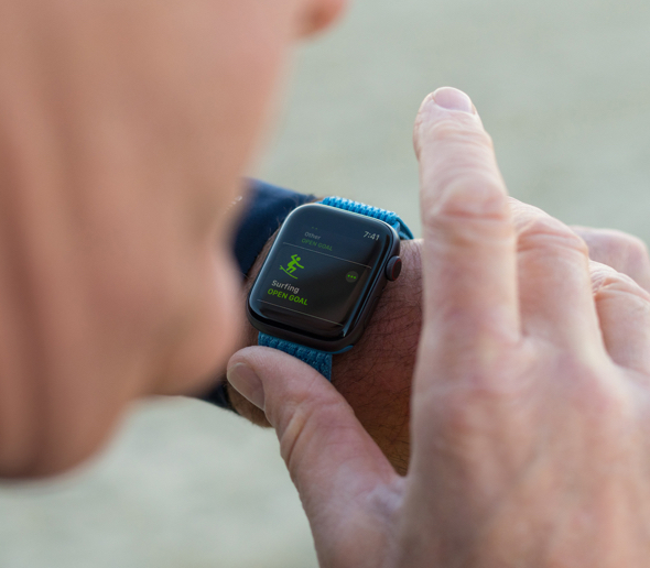 Leason starts his surfing workout on his Apple Watch Series 4.