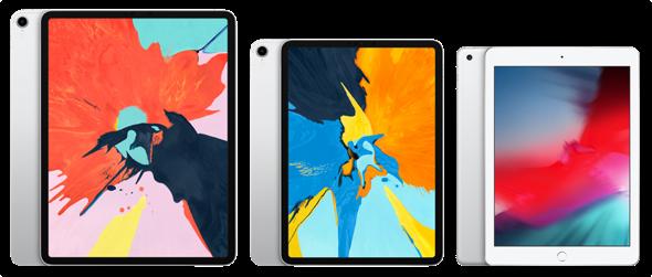 Apple's iPad Family 12.9-inch iPad Pro (left), 11-inch iPad Pro (center), and 9.7-inch iPad (right)