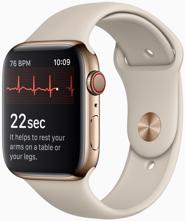 Touching the Apple Watch Series 4 Digital Crown completes the circuit and electrical signals across the heart are measured.