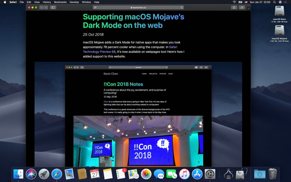 Websites that support dark themes still appear white in the current macOS Mojave 10.14.3, but on MacOS Mojave 10.14.4 they automatically adapt to OS appearance.