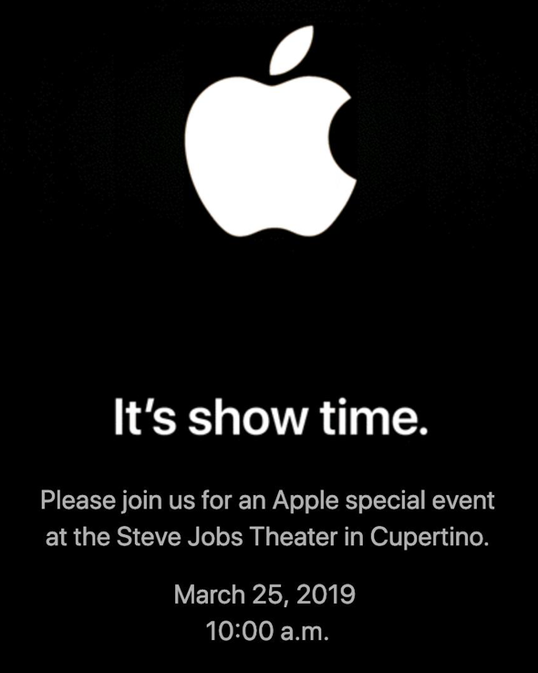 Apple's invitation to the 'It's Show Time' special event on March 25th