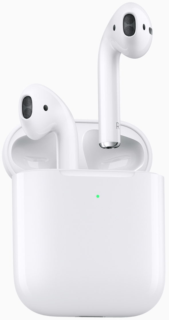 "New AirPods build on the magical experience customers love delivering 50 percent more talk time, hands-free ""Hey Siri"" and the option of a new Wireless Charging Case."